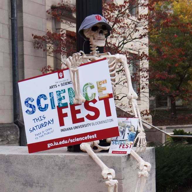 Skeleton in Sci Fest gear